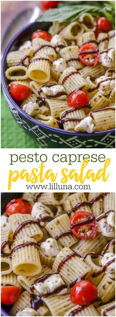 Pesto Caprese Pasta Salad - a pasta salad covered in basil and filled with mozzarella balls, tomatoes, basil and balsamic vinaigrette reduction sauce. Salad Recipes Video, Pasta Recipes, Cooking Recipes, Meal Recipes, What's Cooking, Recipes Dinner, Pasta Dishes, Food Dishes, Side Dishes