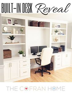 Built-In Desk Reveal – The Cofran Home – Home Office Design Corner Home Office Space, Home Office Design, Home Office Furniture, Home Office Decor, Office Ideas, Small Office, Furniture Ideas, Furniture Design, Library Furniture