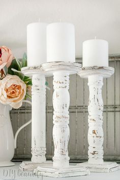 Turn the spindles from an old chair into farmhouse chippy candlesticks for under 5 Full tutorial available at # Crafts For Teens To Make, Crafts To Sell, Easy Crafts, Diy And Crafts, Spindle Crafts, Wood Crafts, Diy Wood, Eames, Diy Candle Holders