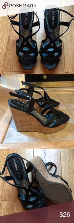 Steve Madden Girl black strappy wedges Very food used condition. Barely worn. Some wear on the one strap as pictured. Madden Girl Shoes Wedges