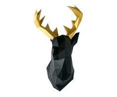 Decorazione da parete Deer nero/oro