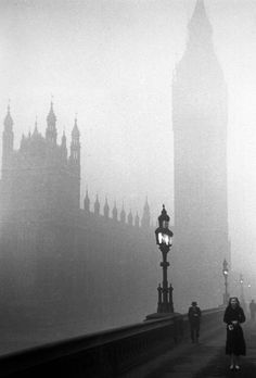 full circle -- The Houses of Parliament, London, engulfed in fog. (Photo by Kurt Hutton/Picture Post/Getty Images). Houses Of Parliament London, Fine Art Prints, Framed Prints, Foggy Morning, Early Morning, Silhouette Portrait, Objet D'art, White Photography, Gothic Photography
