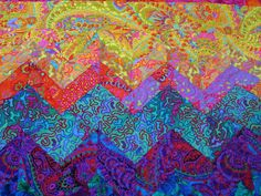SUNSET OVER the ROCKIES--Quilt Inspired by Kaffe Fassett fabrics  Wall Hanging or Lap Quilt