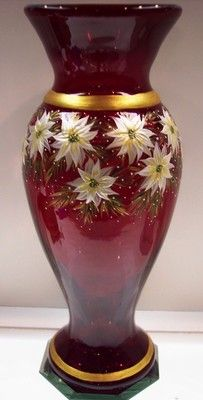 Fenton Ruby Red Vase Ivory Pearl Poinsettias Golden Pine Branches OOAK Free SH | eBay