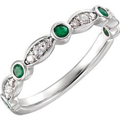 14kt White Emerald & 1/6 CTW Diamond Ring #Emerald #Ring Locate a jeweler here: http://www.stuller.com/locateajeweler?searchTerm=Locate%20a%20jeweler