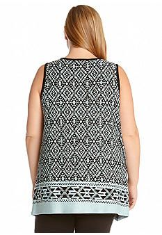 e2eea0093c8 Karen Kane Plus Size Fashion Turquoise and Black Aztec Tribal Jacquard  Border Tank Top available from
