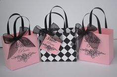 Pink Paris party favor/gift bags | Autumbless - Accessories on ArtFire