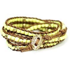 Yellow Wrap Bracelet ($8) ❤ liked on Polyvore