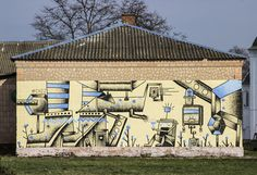 Ukrainian artist Chzz's latest mural in the small town of Pryluky in Ukraine. The piece was created at a technical children's school, they create in ships, aero-models, cars and a lot of  interesting projects. His main idea was to show in parallel a technical and fantasy world.   #Ukrainianartist #chzz #streetart #mural #streetartist #pryluky #allpublicart #apa