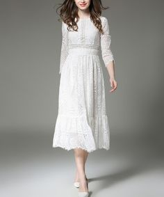 Another great find on #zulily! White Lace Midi Dress #zulilyfinds