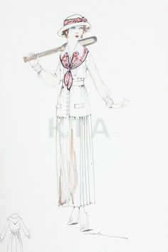 Kittyinva: 1917 Lucile studio sketch for a tennis ensemble for the Sear's catalog. From Kerry Taylor Auctions.