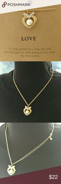 Heart pearl & crystal gold love necklace Adjustable length comes with card. Sherri Souza Boutique & Jewelry Jewelry Necklaces