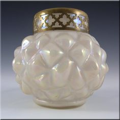 Kralik Art Nouveau 1900's Iridescent Mother-of-Pearl Glass Vase - £39.99