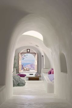 Minimalist & super chic. Pristine cave.The Perivolas on Santorini.