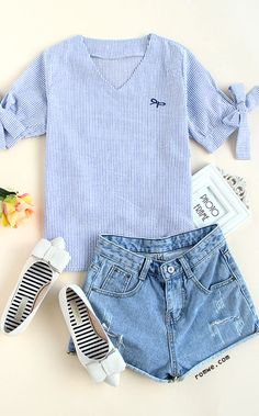 Blue V Neck Stripe Bow Blouse