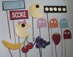 PAC MAN photo booth props: Ol school video games with  free  MUSTACHES. $25.75, via Etsy.