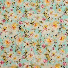 Fabric Pure Cotton Print Floral Color Bluish Grey