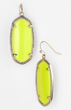 Kendra Scott 'Elle' Small Oval Earrings | Nordstrom - Neon Yellow/Gold