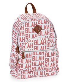 "Haters gonna hate, but our Blah Blah Backpack makes you immune to rude comments! The canvas exterior boasts a bold, loud print, giving you major style power at school. A large zippered main compartment and two front zip pockets provide plenty of space for books or accessories.<br><br>W 12"" x H 17"" x D 7""<br>Two adjustable padded back straps.<br>Style: 8108. Imported.<br><br>Cotton canvas with faux leather accents."