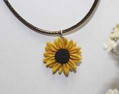 Handmade Polymer Clay Sunflower Necklace, Polymer Clay Sunflower Pendant, Gift For Her, Unique Handmade Polymer Clay, Made in Australia Gift