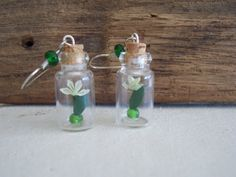 Green Origami 'Button Hole' flowers in little bottle by TipTapBang, $13.99