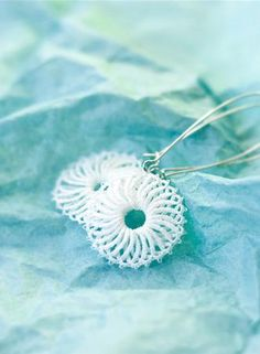 Tatting earrings. Designed by Olha Syvovok