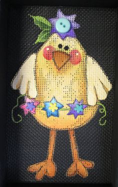 Spring Chick with Flowers Tole Painting by barbsheartstrokes