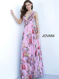Style 1032 from Jovani is a printed chiffon A-line gown that has a pleated bodice with a V-neckline. Prom Dresses Jovani, Pageant Dresses, Dress Prom, Print Chiffon, Chiffon Dress, Printed Gowns, Evening Dresses, Formal Dresses, Formal Wear