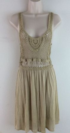 LOST Brown Beige Open Lace Hippie Boho Tank Dress S Small #Lost #Sundress #Casual