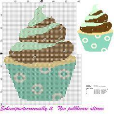 schema punto croce cupcake cioccolato e menta
