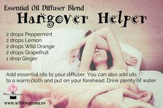 Essential Oil Diffuser Blend - Hangover Helper(pic only) Ginger Essential Oil, Essential Oil Uses, Doterra Essential Oils, Young Living Essential Oils, Yl Oils, Essential Oil Diffuser Blends, Doterra Diffuser, Aromatherapy Oils, Diffuser