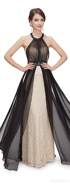 Lacy Gown - Sheer Black Overlay