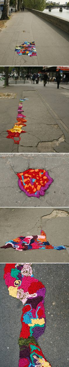 Well this is one solution to solving pot holes in the streets! Artist Juliana Santacruz Herrera has taken it upon herself to repair the streets of Paris, and adding a little bit color while she's at it!