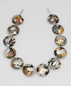 "Title: ""Indian Summer""  Description: Necklace. Silver, bronze, shibuichi, shakudo, copper,  nickel silver, brass, 18K yellow and red gold. Constructed and inlaid.  Dimensions: 0.62 H X 19.00 W X 1.25 D Inches  Type: One Of A Kind  Year: 2008"