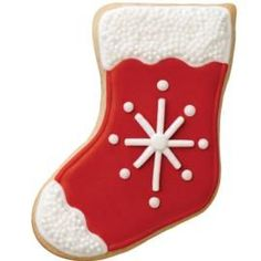 cute stocking cookie design with beaded top and toe.