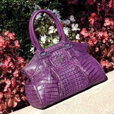 Genuine Crocodile Handbag Purple 25537 Stauer