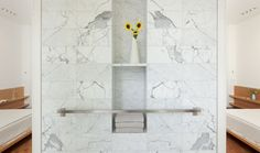 Nice towel bar and storage combination detail
