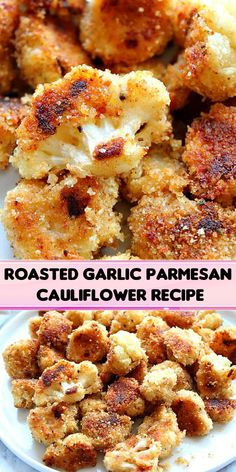 Roasted Garlic Parmesan Cauliflower Recipe – crispy cauliflower bites with garlic Parmesan breading, baked in the oven instead of fried. … Informations About Roasted Garlic Parmesan Cauliflower Recipe Parmesan Cauliflower, Garlic Parmesan, Cauliflower Recipes, Roasted Garlic, Cauliflower Bites, Side Recipes, Vegetable Recipes, Vegetarian Recipes, Cooking Recipes