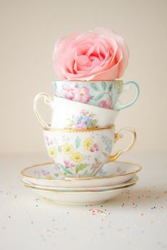 Tea Party, Tea Cups, Rose, Vintage, Pretty, Elegant, Soft, Pastels, Stacked, Colourful