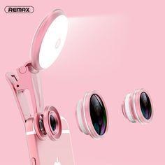 REMAX Phone Camera Lens Kit 150 Degree Wide Angle+180 Degree Fisheye Lens+50x Macro Lens+Selfie Spot Light Mini Clip Optic Lens #Affiliate