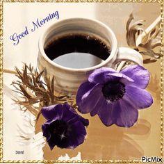 Good Morning Coffee Gif, Good Morning Breakfast, Coffee Images, Coffee Pictures, Gif Pictures, Good Night Gif, Good Night Wishes, Coffee Heart, Coffee Love