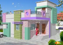 Single storied Flat roof Contemporary House Less than 3000sqft