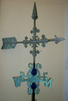 Beautiful COPPER arrow weathervane.ANTIQUE FINISH with mount
