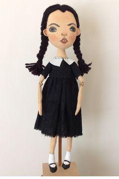 Wednesday Addams doll Haunted doll Creepy Gothic zombie doll #theaddamsfamily #creepycutedoll #haunteddoll #creepydoll #horrordoll #zombiedoll #spookydoll #artdoll #clothdoll #ragdoll #ooakdoll #wednesdayaddams #gothicdoll