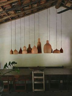 Timber pendant light. Enchanting