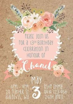 Pretty floral invites at a boho birthday party! See more party ideas at http://CatchMyParty.com!