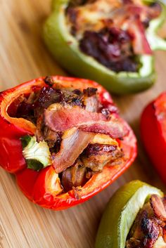 BBQ Pork Stuffed Peppers - the ultimate use of left over pulled pork! Grilling Recipes, Pork Recipes, Cooking Recipes, Healthy Recipes, Bbq Pork, Pulled Pork, Pork Bacon, Pork Dishes, Side Dishes Easy