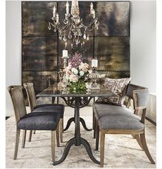 HighFashionHome: Romantic breakfast room set up. Create the illusion of a larger space by adding mirrors. We love seeing three of these Three-Panel Antique Mirrors together. Our bluestone-top Parisian dining shown here with the Carter Bench and Nyla Stone Rug.