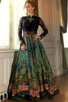 Pretty Peacock Green and Black Anarkali Suit