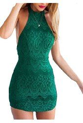 SheIn Women's Halter Open Back Lace Green Bodycon Dress